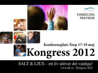 SALT & LJUS – ett liv utöver det vanliga! efk.se   / Kongress 2012