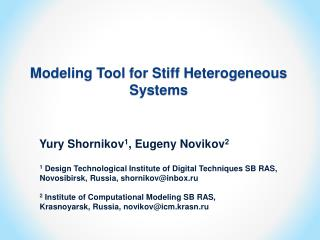 Modeling Tool for Stiff Heterogeneous Systems