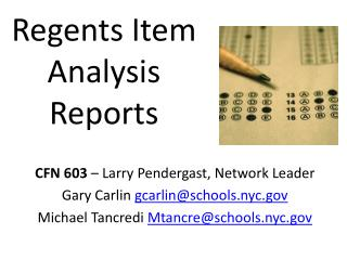 Regents Item Analysis  Reports
