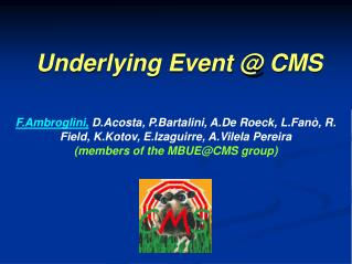 Underlying Event @ CMS