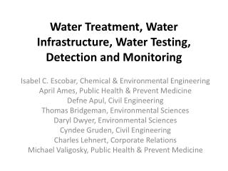 Water Treatment, Water Infrastructure, Water Testing, Detection and Monitoring