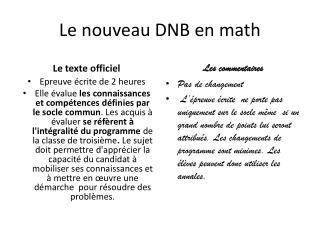 Le nouveau DNB en math