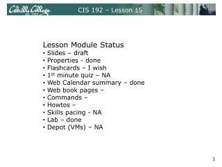 CIS 192 – Lesson 15