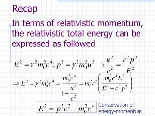 In terms of relativistic momentum, the relativistic total energy can be expressed as followed