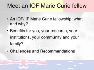Meet an IOF Marie Curie fellow