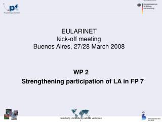 EULARINET  kick-off meeting  Buenos Aires, 27/28 March 2008