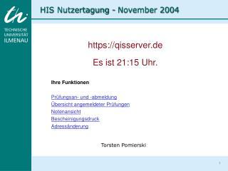HIS Nutzertagung - November 2004