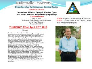 Department of Earth Sciences Seminar  Series McInerney  Lecture