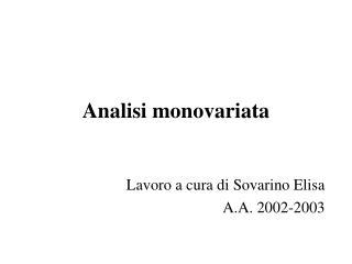 Analisi monovariata