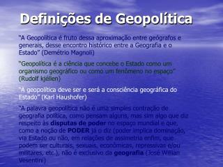 Definições de Geopolítica