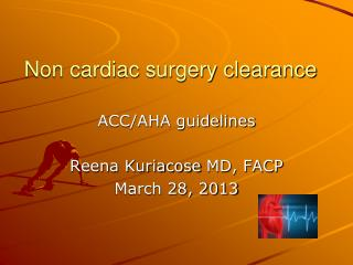 Non cardiac surgery clearance