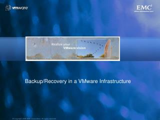 Backup/Recovery in a VMware Infrastructure