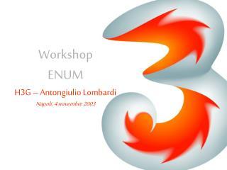 Workshop ENUM H3G – Antongiulio Lombardi Napoli, 4 novembre 2003