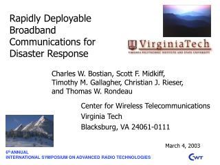 6 th ANNUAL INTERNATIONAL SYMPOSIUM ON ADVANCED RADIO TECHNOLOGIES