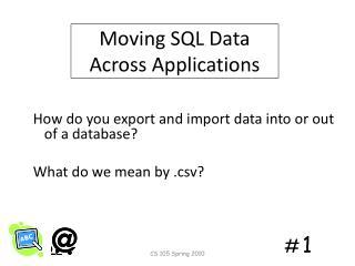 Moving SQL Data  Across Applications