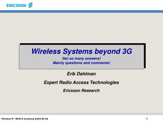 Wireless Systems beyond 3G
