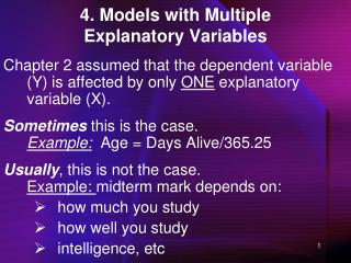 4. Models with Multiple Explanatory Variables