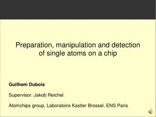 Preparation, manipulation and detection of single atoms on a chip