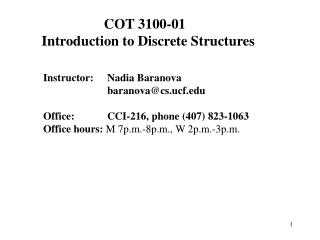 COT 3100-01   Introduction to Discrete Structures