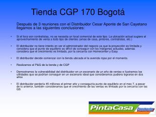 Tienda CGP 170 Bogotá