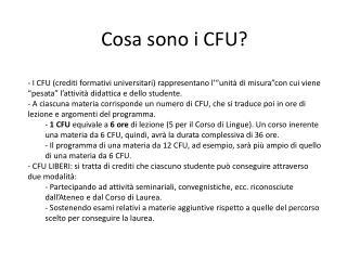 Cosa sono i CFU?