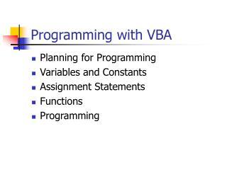 Programming with VBA