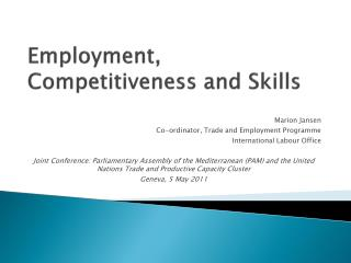 Employment, Competitiveness and Skills