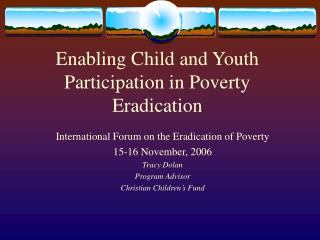 Enabling Child and Youth Participation in Poverty Eradication