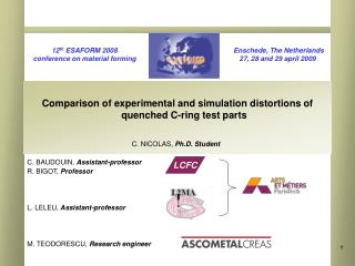 Comparison of experimental and simulation distortions of quenched C-ring test parts