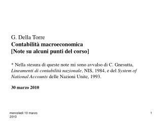 """Contenuto del corso: Contabilità macroeconomica, Conti Nazionali e """"System of National Accounts"""""""