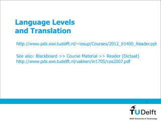 Language Levels and Translation