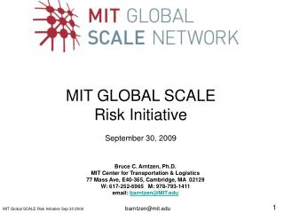 MIT GLOBAL SCALE  Risk Initiative September 30, 2009
