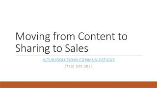 Moving from Content to Sharing to Sales