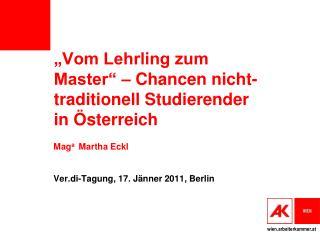 """""""Vom Lehrling zum Master"""" – Chancen nicht-traditionell Studierender in Österreich"""
