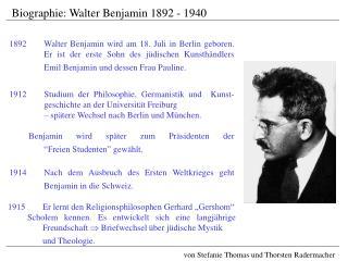 1914Nach dem Ausbruch des Ersten Weltkrieges geht Benjamin in die Schweiz.