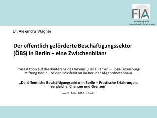 Der öffentlich geförderte Beschäftigungssektor (ÖBS) in Berlin – eine Zwischenbilanz