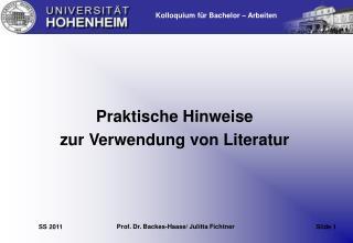 Praktische Hinweise  zur Verwendung von Literatur