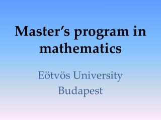 Master�s program in mathematics