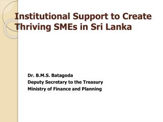 Institutional Support to Create Thriving SMEs in Sri Lanka