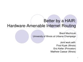 Better by a HAIR: Hardware-Amenable Internet Routing