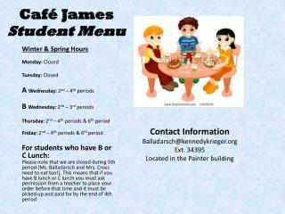 Café  James Student Menu
