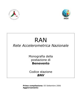 RAN Rete Accelerometrica Nazionale Monografia della postazione di Benevento Codice stazione BNV