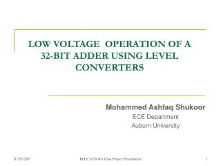 LOW VOLTAGE  OPERATION OF A 32-BIT ADDER USING LEVEL CONVERTERS