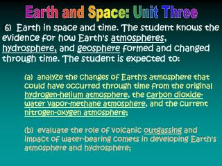 Earth and Space: Unit Three