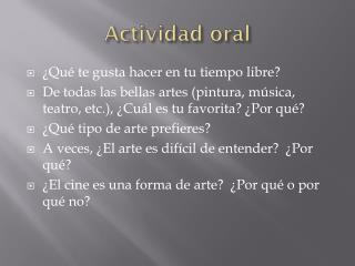 Actividad  oral