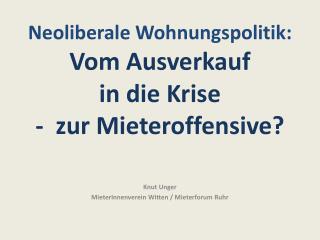 Knut Unger MieterInnenverein Witten / Mieterforum Ruhr