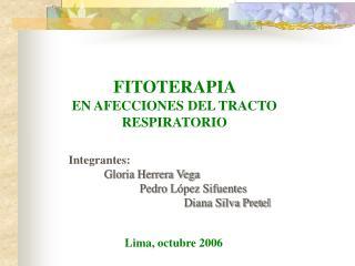 FITOTERAPIA  EN AFECCIONES DEL TRACTO RESPIRATORIO