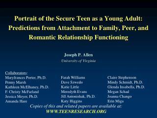 Collaborators : Maryfrances Porter, Ph.D. Penny Marsh Kathleen McElhaney, Ph.D.