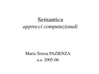 Semantica approcci computazionali