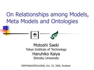 On Relationships among Models, Meta Models and Ontologies